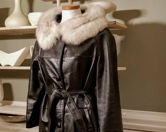 Golet Mid Century Black Leather Vintage Womans Coat Fur Collar Size 8