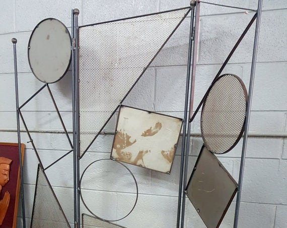Retro Metal Geometric Shapes Room Divider Wall Privacy Screen Buyer Pays Shipping