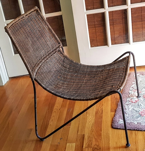 Mid Century Wicker Caned Metal Wrought Iron Frame Scoop Chair Frederic Weinberg Style