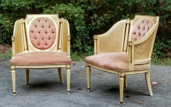 Beautiful French Provincial Hollywood Regency Caned Velour Pale Pink Peach Side Chairs BUYER Pays Shipping