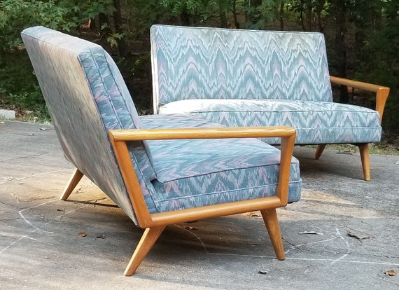 Mid Century Modern Two Piece Sectional Sofa Blue Flame Stitch Fabric Wood Framed Modular BUYER PAYS Shipping