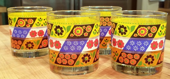 Retro Floral Patchwork Pattern Flowers Orange Yellow and Brown Set of Four Tumblers Cups Drinking Glasses