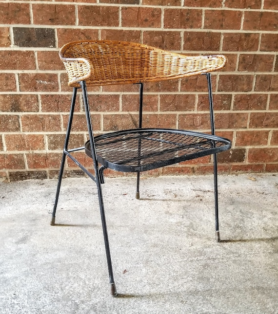 Mid Century Modern Chair with Wrought Iron Legs and Seat Maurizio Tempestini  Salterini