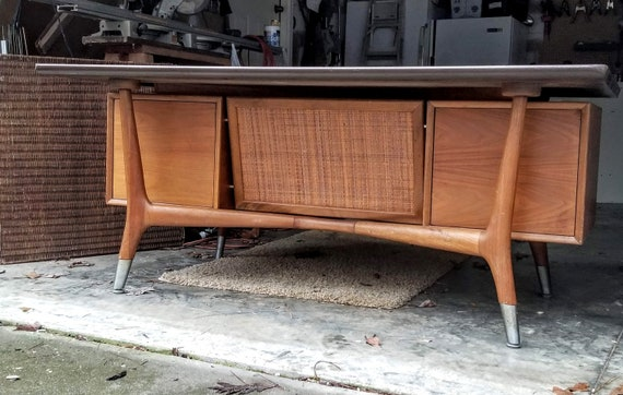 Fabulous Mid Century Modern Floating Top Executive Office Desk Caned Privacy Panel Alma