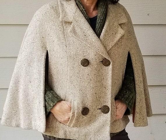Vintage Short Jacket Cape Brown Tweed Sherlock Holmes Style