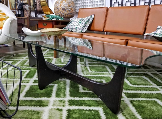 Adrian Pearsall Mid Century Glass Top Dark Walnut Base Stingray Coffee Table