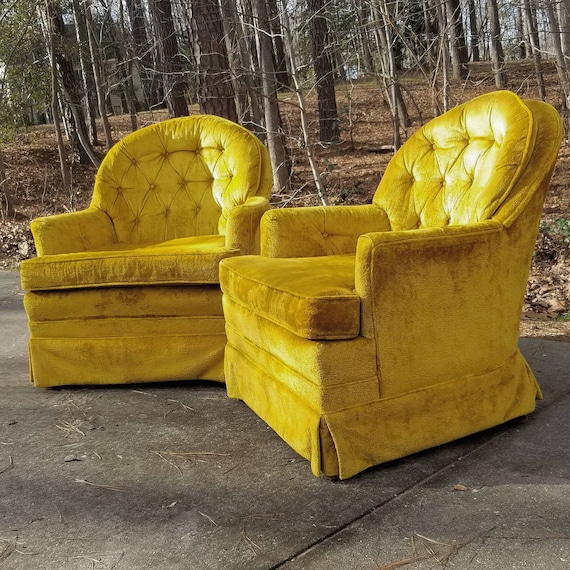Beautiful Matching Pair of Golden Mid Century Club Chairs Buyer Pays Shipping