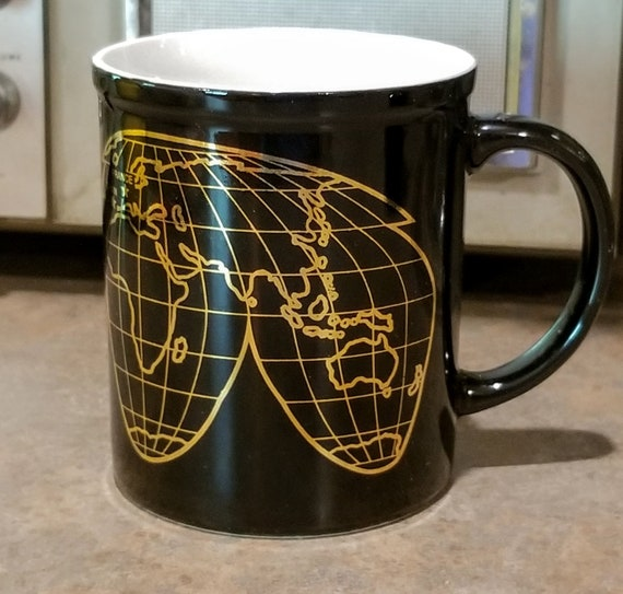 Vintage United States Postal Service Olympics Global Mug Coffee Cup Black Gold Globe Map Industrial Machine Age
