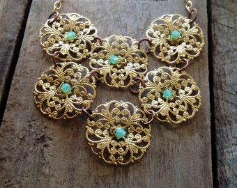 Brass Bib Necklace Medallions with Opal Sea Foam Czech Glass Accents