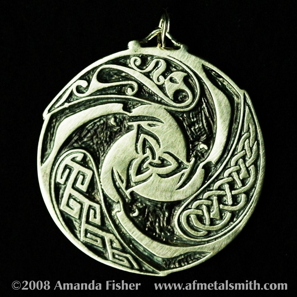 Triple Raven Triskele Pendant A Celtic Design