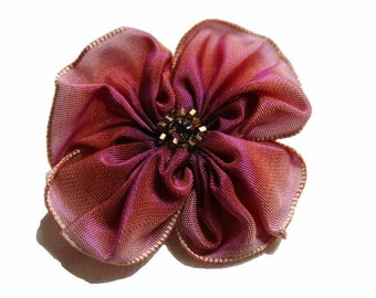 ribbon flower brooch in pink plum blossom