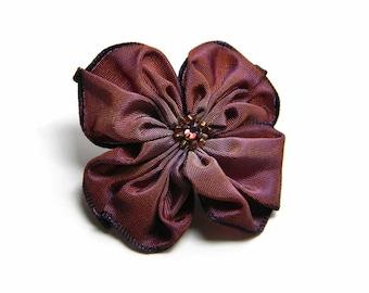 plum and bronze ribbon flower brooch pin