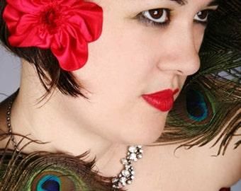 red silk flower brooch or hair clip
