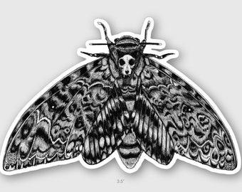 Deaths Head Hawk Moth with a Cat Skull on its Back Vinyl Die Cut Sticker Decal Memento Mori