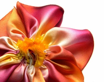 Old Flame Burgundy Red and Golden Yellow Hand-Dyed Bias-Cut Silk Charmeuse Hand-Stitched Ribbon Flower Brooch