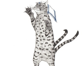 YOKAI Bake Neko Cat Demon Dancing with a Tea Towel on its Head ORIGINAL Artwork Archival Black Ink Drawing on Hot Press Paper 8 x 8