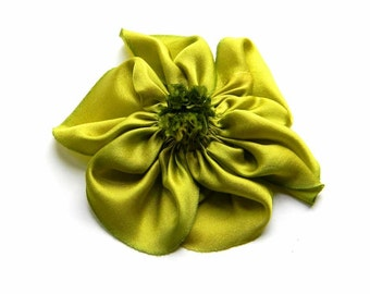 Lime Green Hand Dyed Silk Charmeuse Hand Stitched Ribbon Flower Brooch Pin for Hats or Lapels