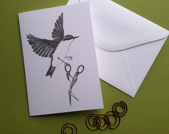 Nuthatch Absconds with a Pair of Crane Scissors Greeting Card Notecard with Envelope 4 x 6