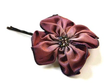 Autumn Plum Bronzed Violet and Lavender Hand Stitched Ribbon Flower Hairpin Bobby Pin with a Swarovski Crystal Center