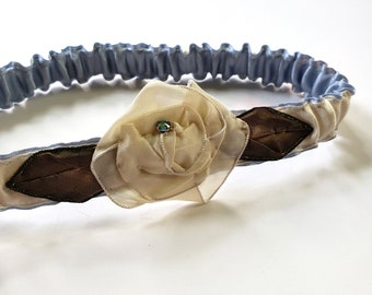Silk Garter in Cream and Light Blue with a Cream Ribbon Rose Made in 1920s Style for Bridal, Costume or Everyday