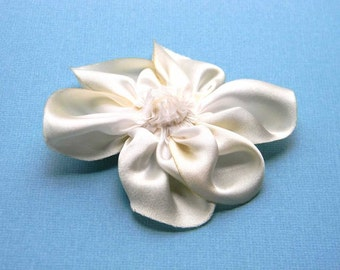 silk satin flower brooch in white and ivory