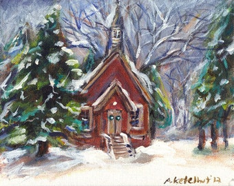 Little Cute Whimsical Church wintry country Christmas snow original painting