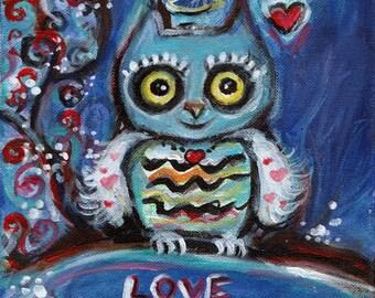 Cute owl Valentine smile love original painting