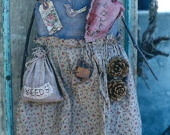 Primitive Doll Pattern EPattern PDF Gardening Garden Heart Ornament Folkart Folk Art  by Hickety Pickety AS31