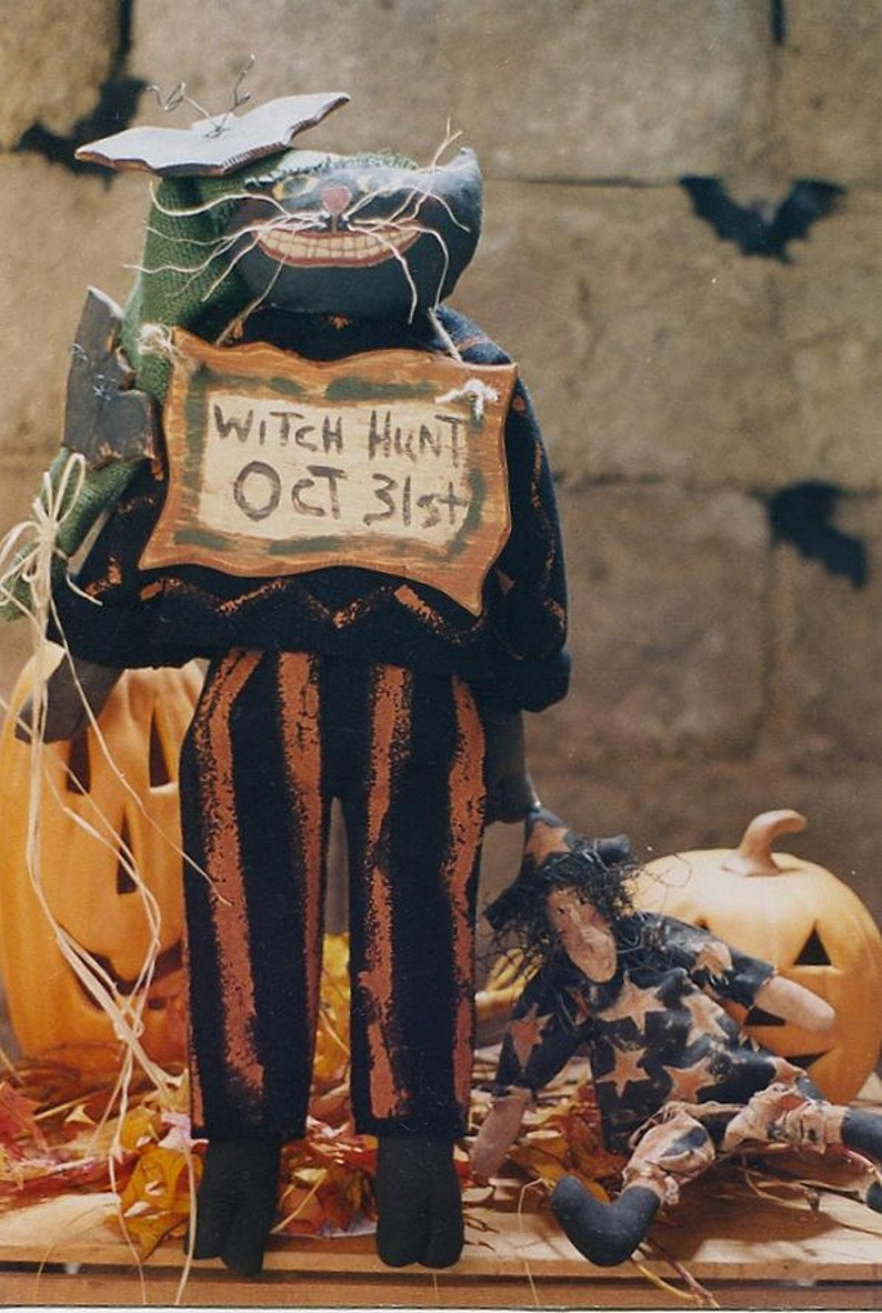 Primitive Halloween Pattern PDF  EPattern Black Cat Witch Doll image 0