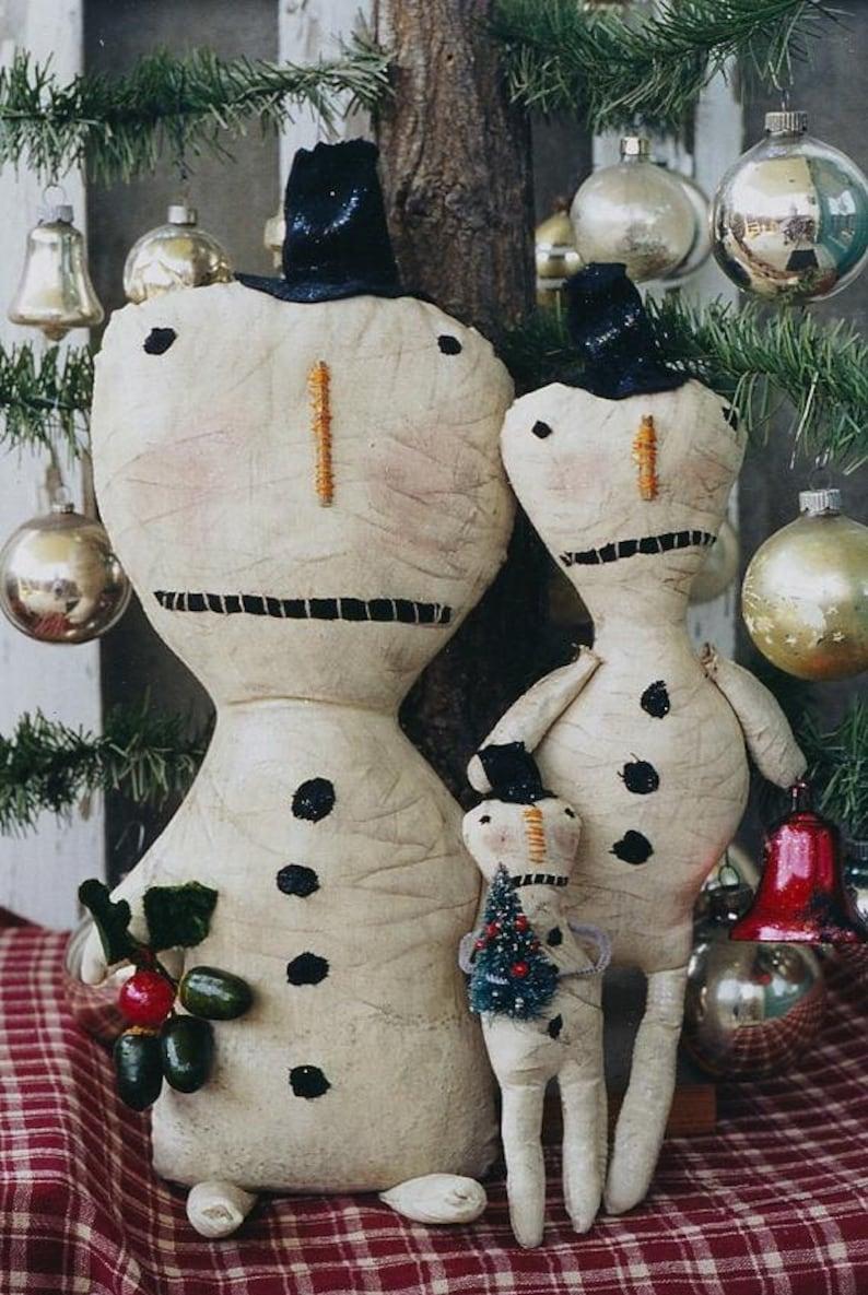 Snowman Doll Pattern Primitive Christmas Snowmen EPattern PDF image 0