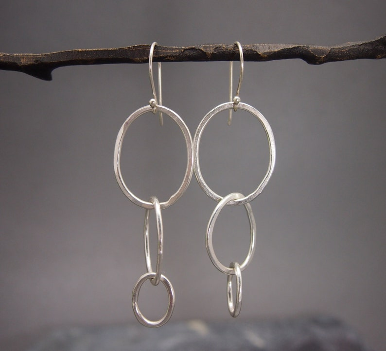 All You Need Earring in Fine Silver .999FS and Organic Loops image 0