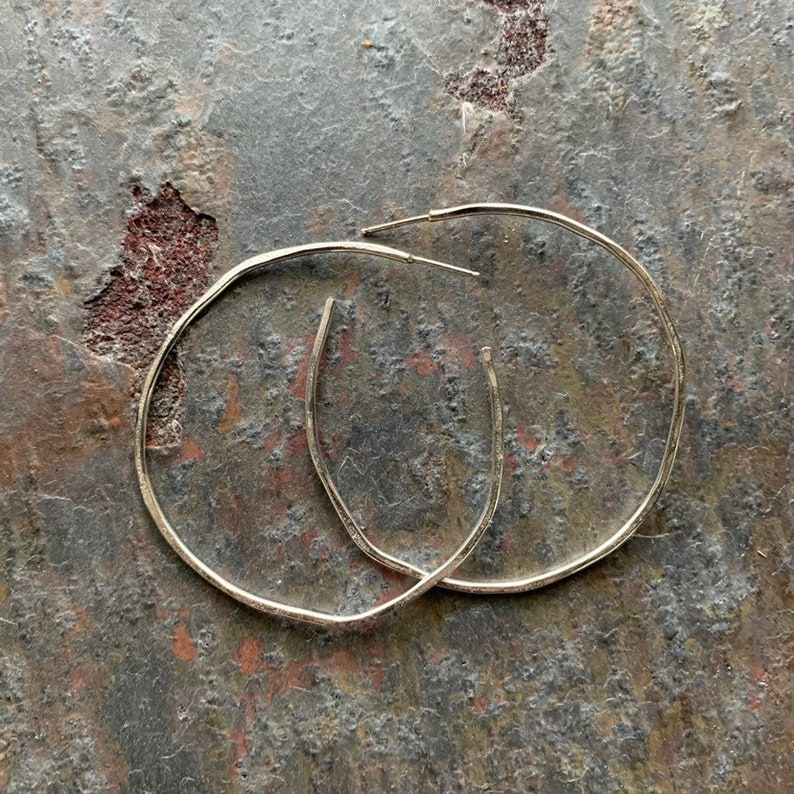 Fine Silver Hoops with an imperfect organic look image 0