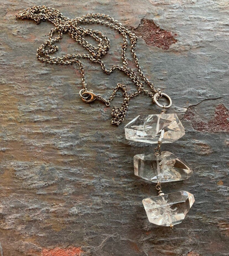 Clean Contemporary Necklace of Chunky Rock Crystal and image 0