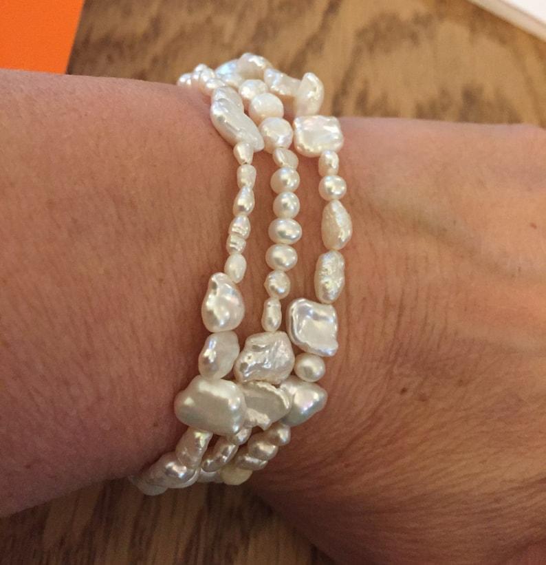 Lovely Triple Wrap for Freshwater Pearls  Bracelet or image 0