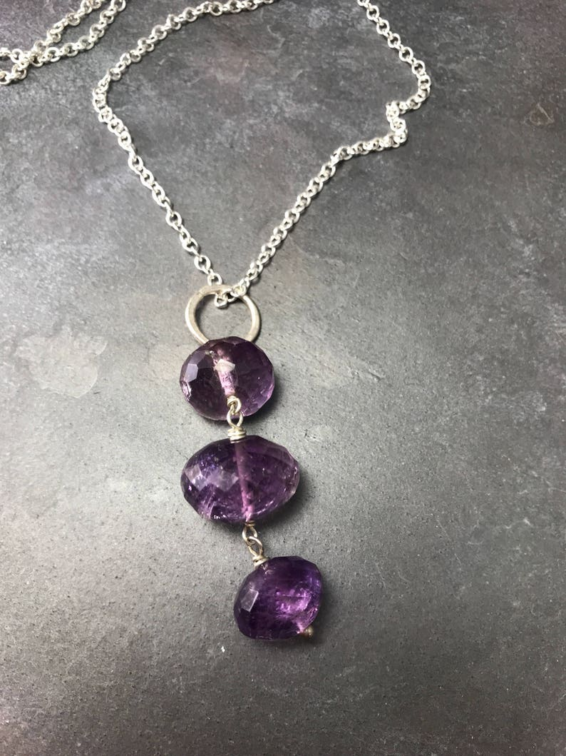 Trio of Amethyst on Long Sterling Chain image 0