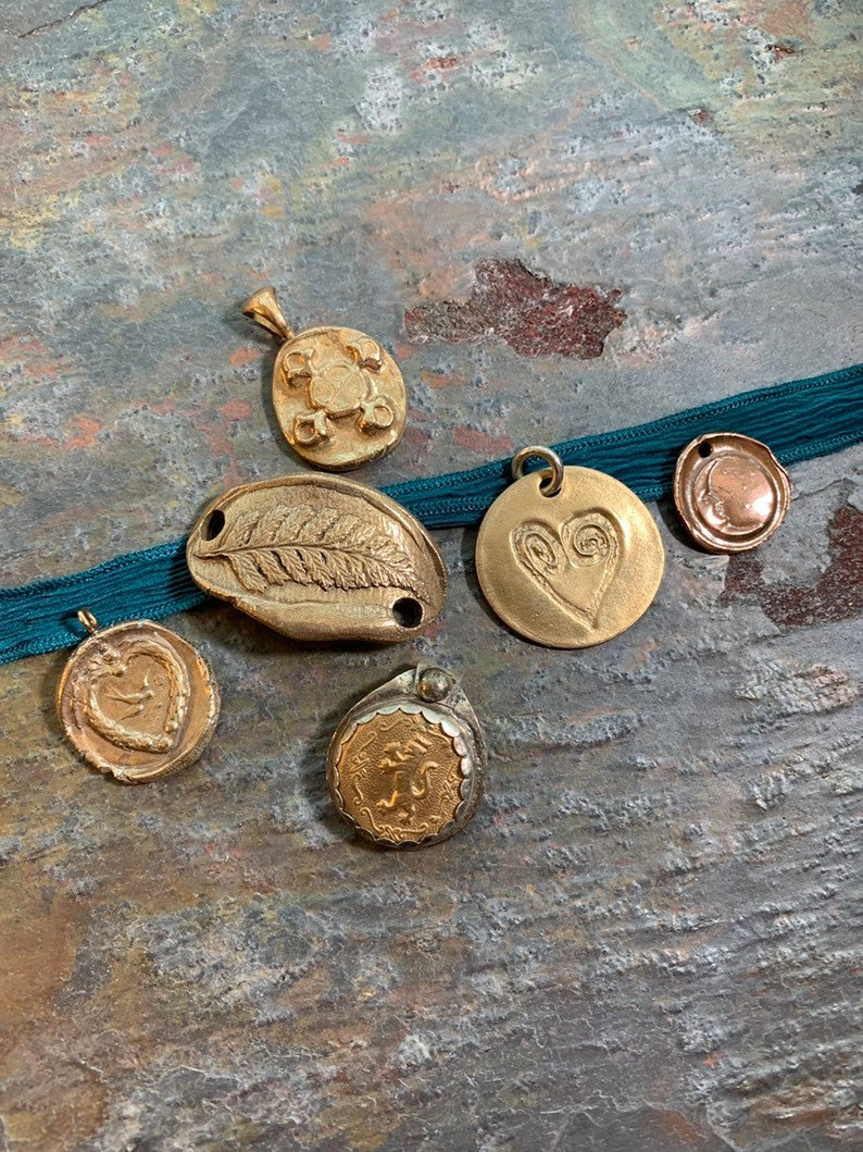 Pick your Charm Bronze Charms/Pendants on Silk Ribbon or image 0