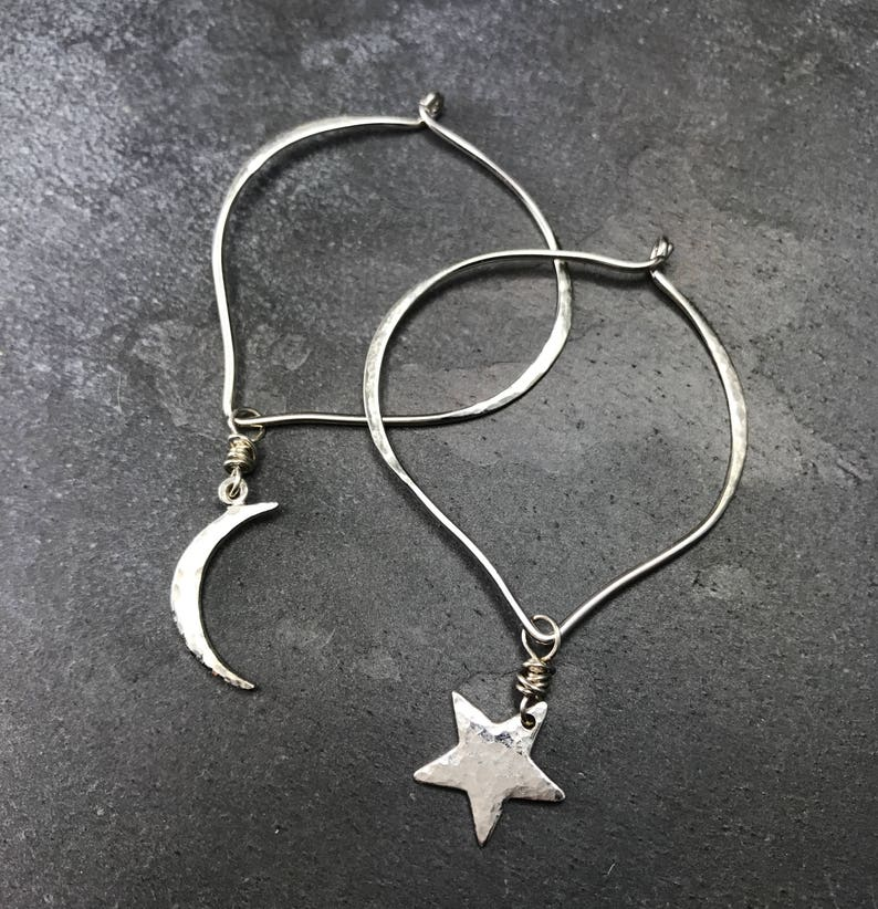 Lovely Sterling Hoops with Moon & Star Charms image 0