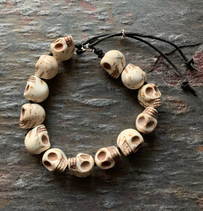 Magnesite Skulls on Paracord with Sterling and Leather accents image 0