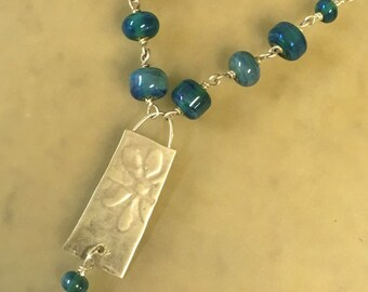Sterling and Fine Silver Pendant  with Wire Wrapped Lampwork Beads and Chain