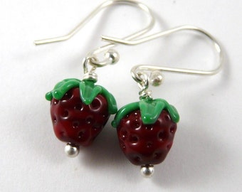 A Pair of Adorable Handmade Glass Strawberry Bead Earrings