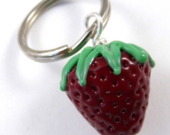 Large Handmade Glass Strawberry Bead Key Fob
