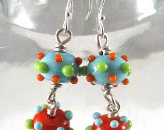 Pair of Handmade Orange Lime and Turquoise Glass Bumpie Bead Earrings