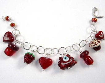 The Cutest Charm Bracelet with a Monster and a Cupcake and a Strawberry and Some Hearts