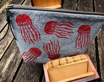 Red Jellyfish make-up bag / block printed