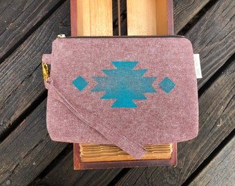 Dusty rose & turquoise wristlet / southwest / block printed