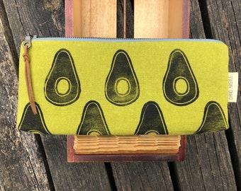 Avocado pencil pouch / block printed
