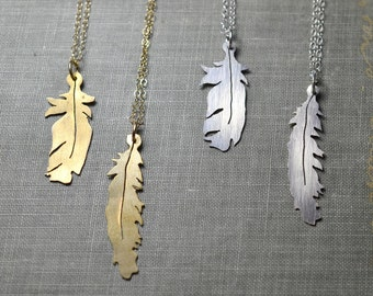 Feather Necklace- dainty feather necklace, woodland necklace, simple boho necklace, silver feather necklace, gold feather necklace