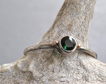 Dark Green Tourmaline Solitaire Ring- hand fabricated sterling silver and recycled gold gemstone stacking ring, alternative engagement ring