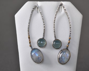 Moonstone and Chalcedony Statement Earrings- one of a kind contemporary earrings, rainbow moonstone and aqua green chalcedony earrings