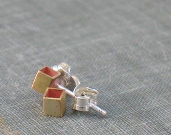 Tiny Brass Cubes- gold geometric studs, tiny geometric studs, tiny cube studs, everyday tiny studs, open square studs, dainty ear studs